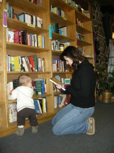 Marlene and Vivian browse the Fiction section